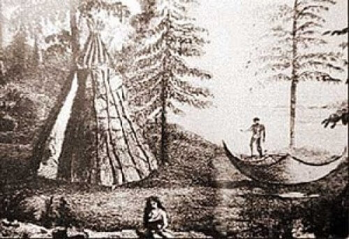 Drawing of a Teepee and 2 Beothuk Indiands