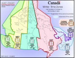 What time is it in Canada - Time Zones Map