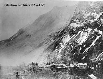 Black and White photo of Frank Slide 1903