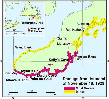 Great Tsunami 1929 Canada Map