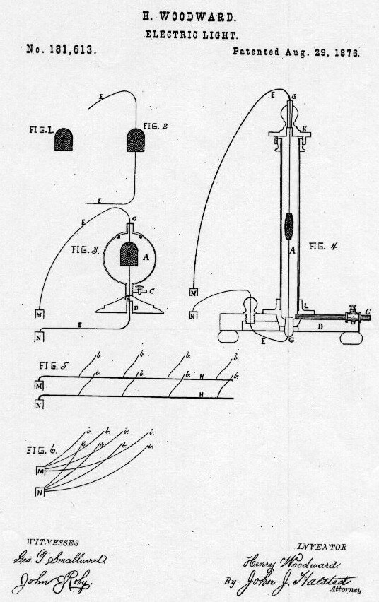 Who Invented the light bulb - Diagram from Woodward and Evan's Light Patent