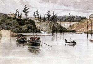 Old Painting of Dam at Jones Falls