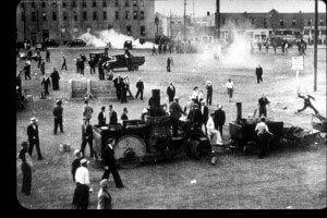 A riot in Queen's Park in Toronto.