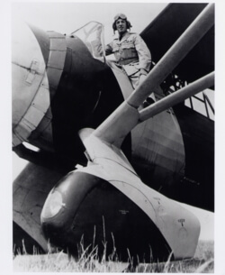 Photograph, taken at Winnipeg in the Spring of 1942, is of Slick Goodlin stepping into the cockpit of an RCAF Westland Lysander.