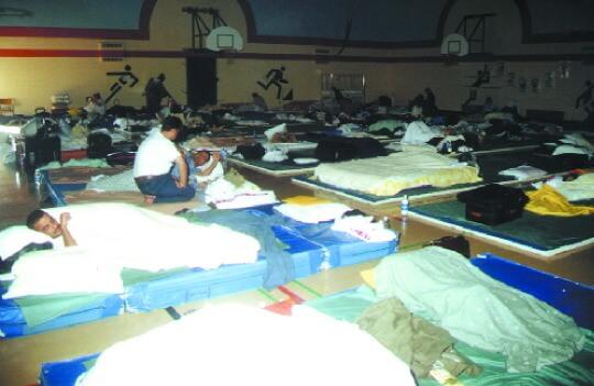Stranded passengers in Gander Academy elementary school.