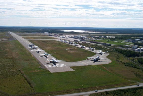 Image of planes grounded at Gander Airport