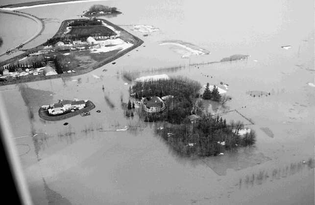 Black and White Arial View of Red River Flood