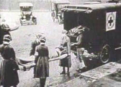 Loading Victims of Spanish Flu in Ambulance