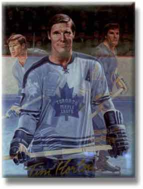 Hall of fame picture of Tim Horton with the Toronto Maple Leafs.