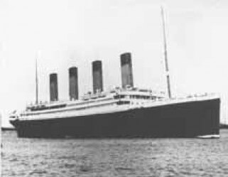 Black and White photo of the Titanic