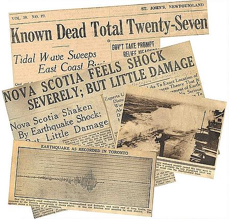 Canada tsunami of 1929 newspaper clippings