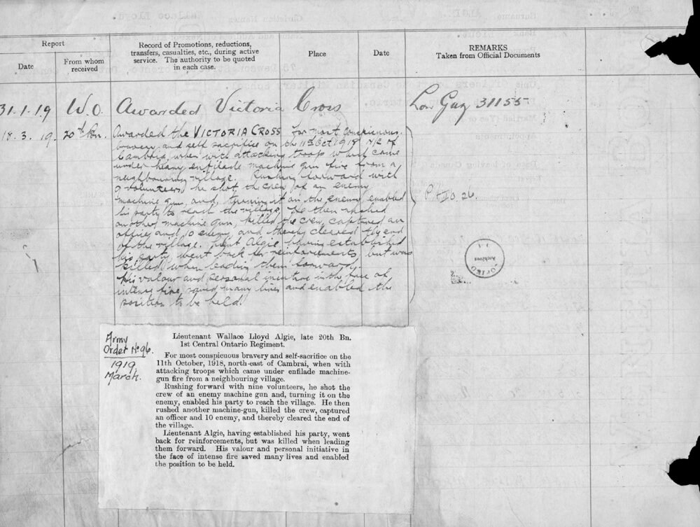 Copy of the Victoria Cross Recommendation for Wallace Algie
