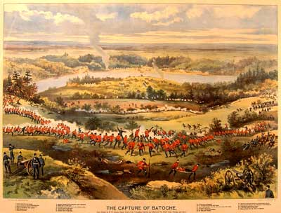 The Battle of Batoche Painting of soldiers on field
