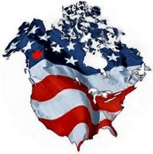 Image implying Canada and United States are combined into one nation