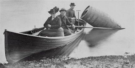 Black and White Photo of Annie Edson Taylor before her journey over the Niagara Falls.