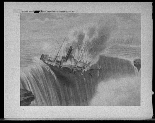 Image of The SS Caroline falling over Niagara Falls.