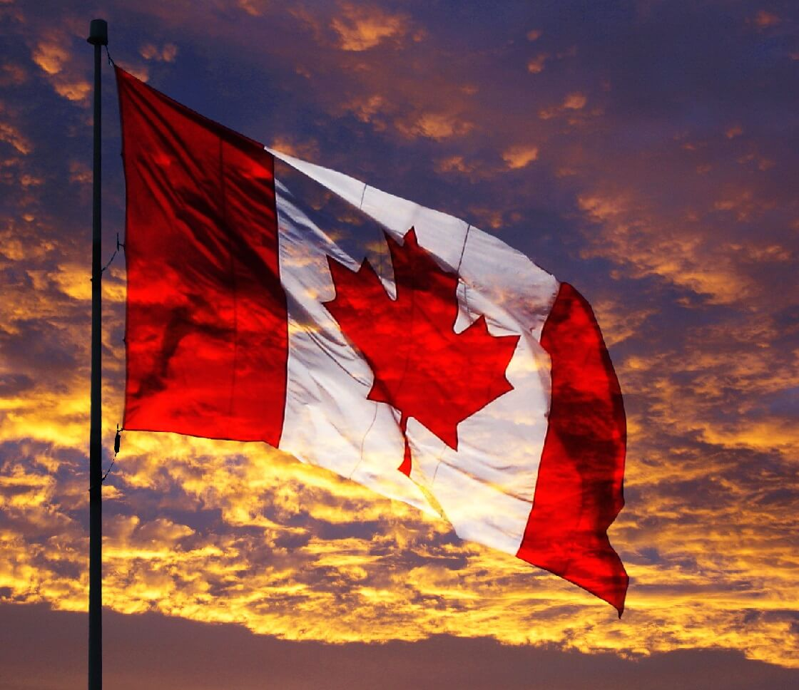 Canadian National Athem flag at sunset
