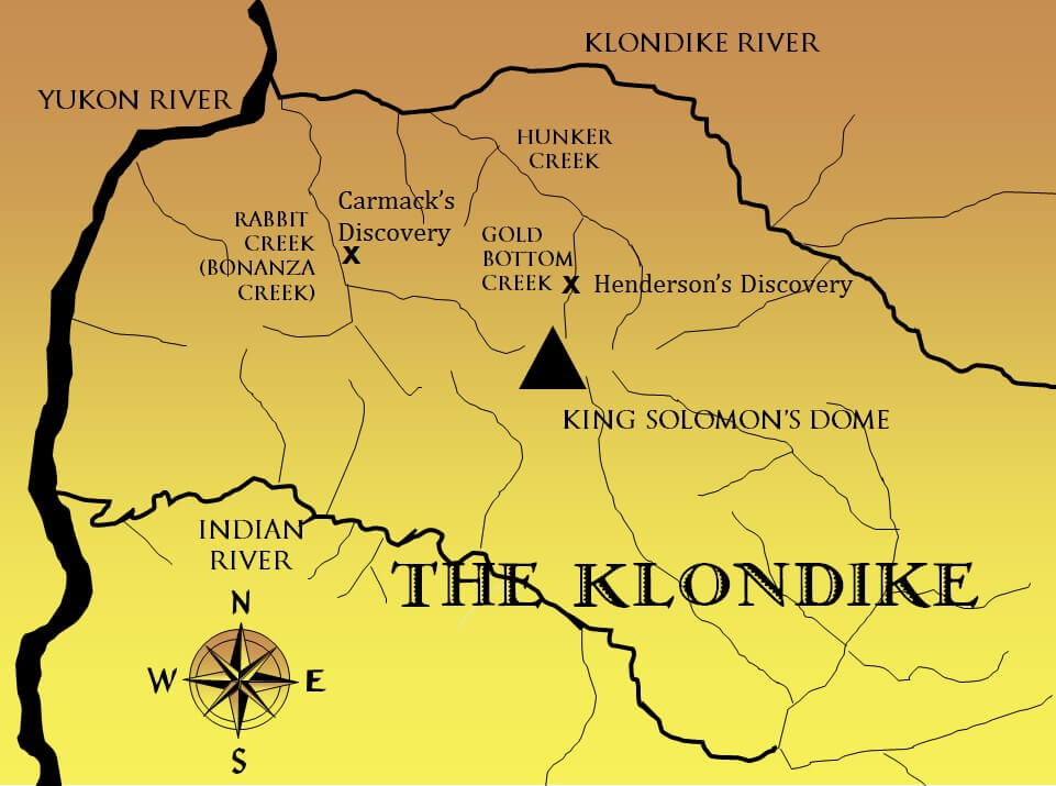 Map of early gold discoveries in the Klondike Gold Rush.