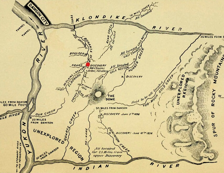 Image of an old map of the Klondike goldfields.