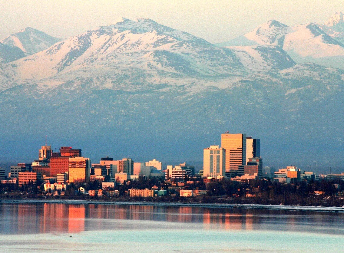 Present-day Anchorage, Alaska.