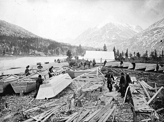Boat building on Lake Bennett.