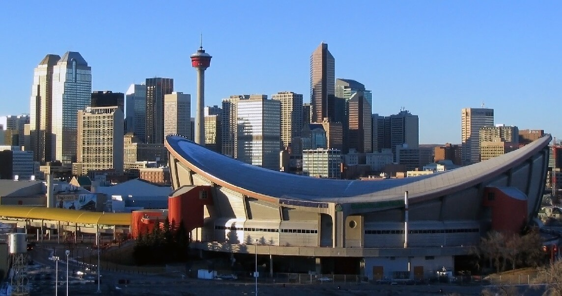 The skyline of downtown Calgary, Alberta, complete with the saddle-shaped 'Saddledome.'