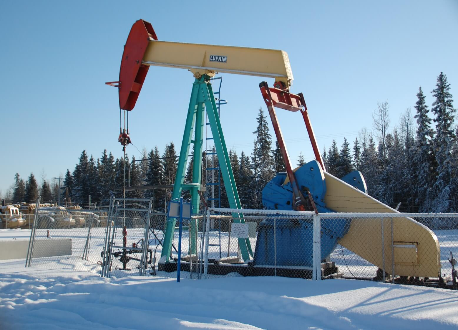 Pumpjacks- like this one in Drayton Valley, Alberta- are a common site across the province.