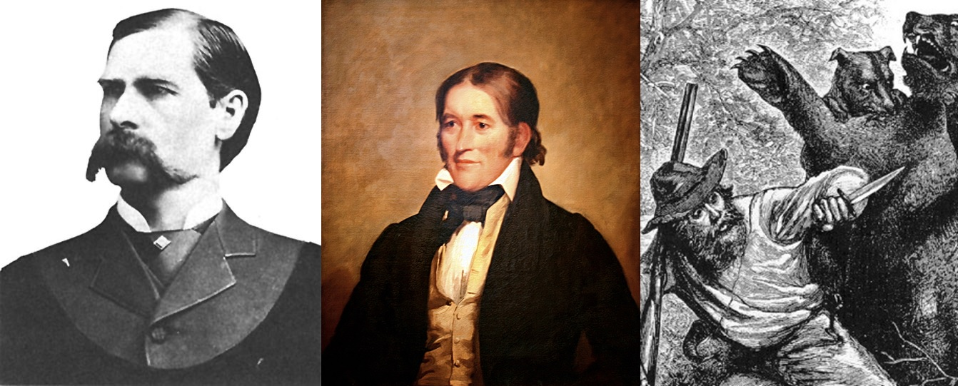 Wyatt Earp, Davy Crockett, and Hugh Glass- three characters of the American Old West.