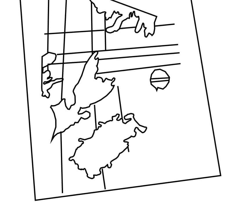 A reconstruction of Zena Halpern's map of Nova Scotia.