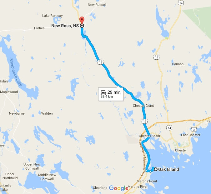 New Ross, Nova Scotia, in relation to Oak Island, as see on Google Maps.
