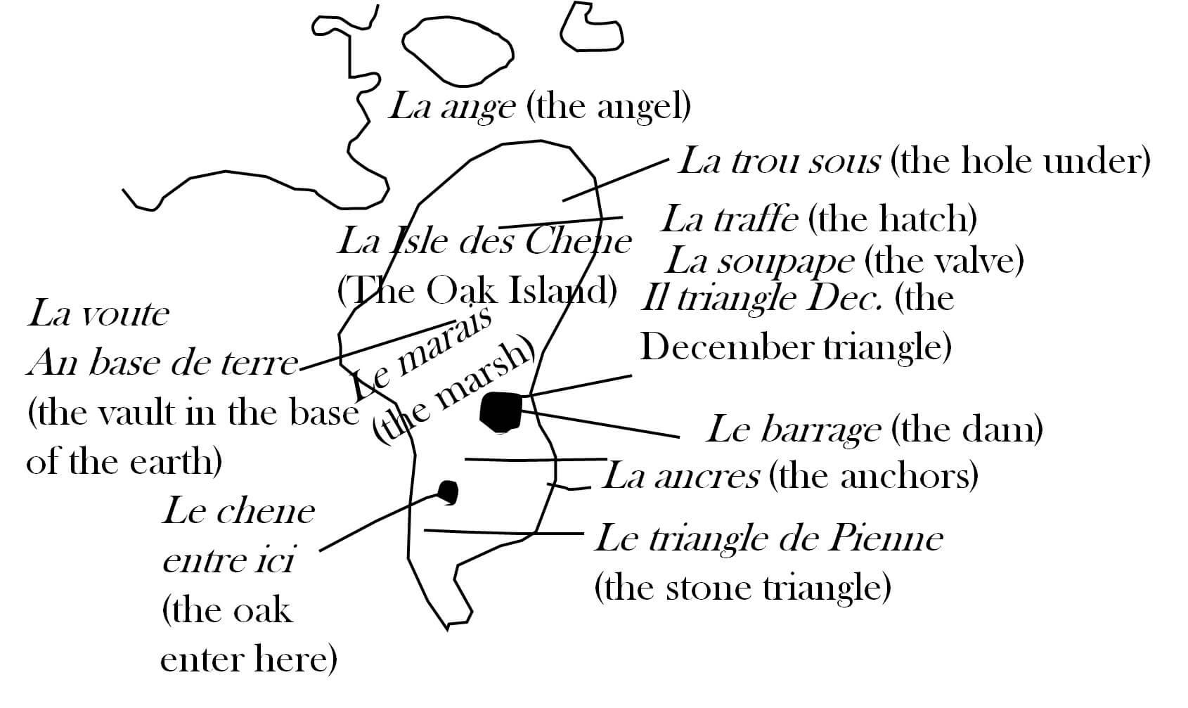 A close up of an interpretation of Zena Halpern's French-labelled map of Oak Island.