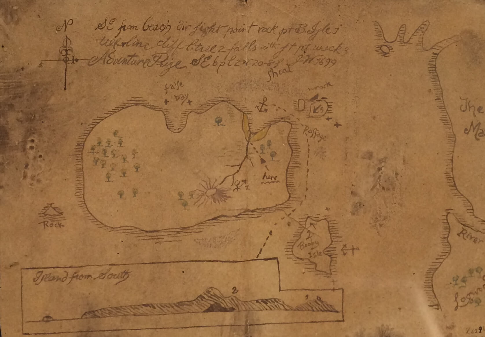 A map of Oak Island on display at the Museum of Natural History in Halifax. Image courtesy of Ryan Phillips.