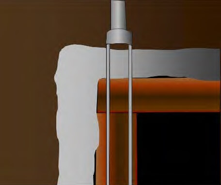 An interpretation of the core sample taken from the hypothetical 'Tester Vault' at the bottom of the Valley 3 borehole.