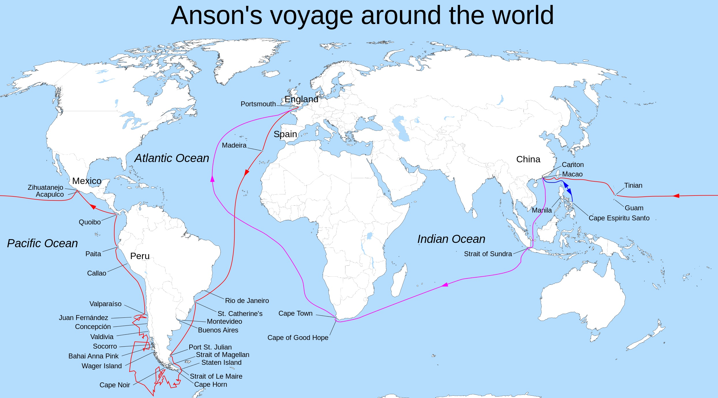 Ansons Voyage around the world map